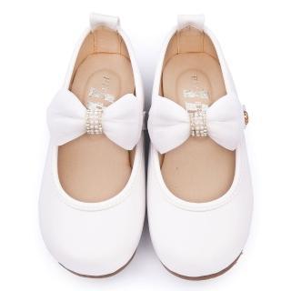 【童鞋城堡】日本娃娃 中大童 典雅蝴蝶結公主鞋(9808-白)