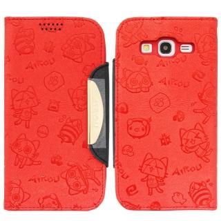 【Aztec】艾路貓 Samsung Galaxy S Duos 2 掀蓋式皮套 手機殼(小貓紅)