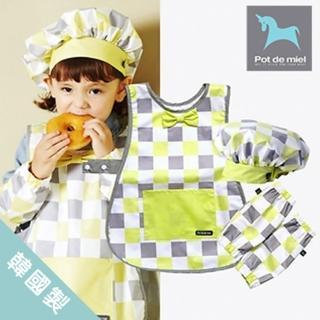 【POT DE MIEL】兒童圍裙套裝/畫畫衣/廚房工作服/帶袖套帽子/多用途圍裙(綠格)
