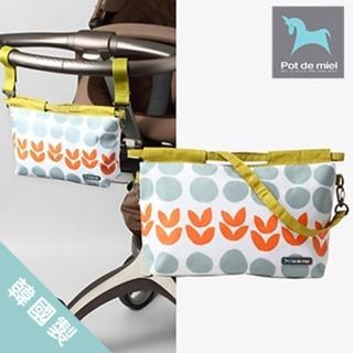 【POT DE MIEL】韓國製攜帶型外出尿布袋/寶寶收納尿布/可掛於手推車(橘花)