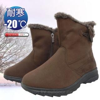 【時尚英倫】女新款 低筒牛角扣專業保暖雪鞋、雪靴_附冰爪(咖啡 SN205)