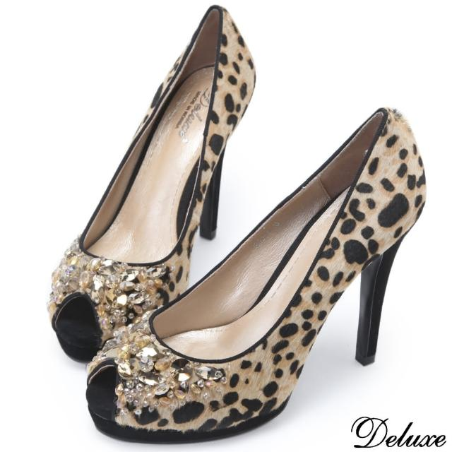 【Deluxe】全真皮馬毛豹紋設計水鑽細高跟鞋(豹紋)