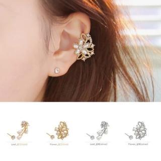 【快速出貨】韓版新款 鑲水鑽珍珠耳夾(G1851)