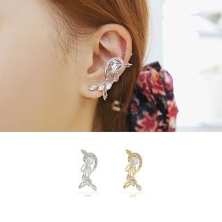【快速出貨】韓版新款 個性誇張水鑽豎琴花朵耳環(G1853)