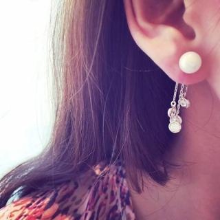 【快速出貨】韓版 長款流蘇後掛式 鋯石耳墜貝殼珍珠耳環(G1838)