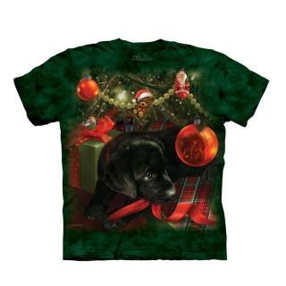 【摩達客】美國進口The Mountain 聖誕小黑狗 純棉環保短袖T恤(預購)