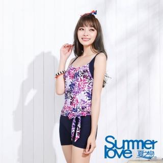 【夏之戀SUMMERLOVE】顯瘦款連身四角泳裝-加大碼(E16701)