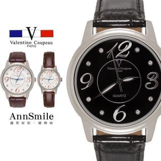 【微笑安安】范倫鐵諾 Valentino Coupeau 亮銀框點鑽大數字不鏽鋼殼真皮錶帶手錶(兩款各2色)