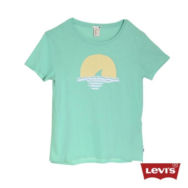 【Levis】女款短袖淺綠色印花T恤