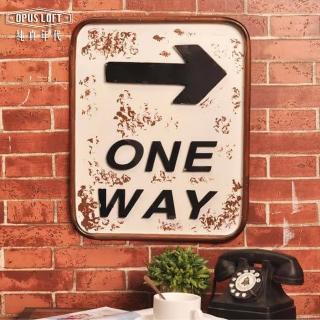 【OPUS LOFT純真年代】復古立體箭頭鐵牌/創意擺飾/指標告示牌(ONE WAY - NO.2002)