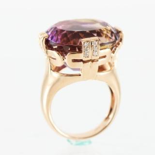 【金郁豐】皇家禮讚天然紫黃晶18k厚金戒