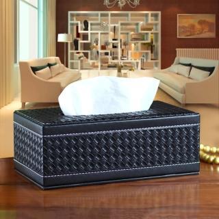 【幸福揚邑】精品編織格紋皮革 磁吸式收納面紙盒/紙巾盒-時尚黑