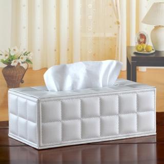 【幸福揚邑】精品歐式方格紋皮革 磁吸式收納面紙盒/紙巾盒-經典白