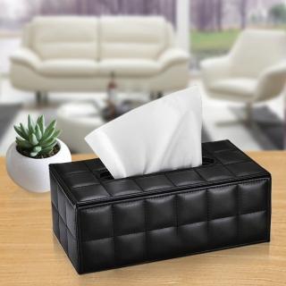 【幸福揚邑】精品歐式方格紋皮革 磁吸式收納面紙盒/紙巾盒-時尚黑