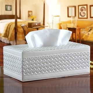 【幸福揚邑】精品編織格紋皮革 磁吸式收納面紙盒/紙巾盒-經典白