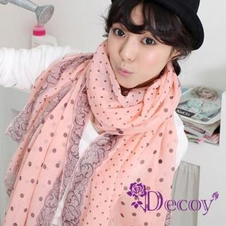 【Decoy】蕾絲點點*雙色棉柔圍巾/粉
