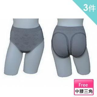 【三合豐 ELF】女性竹炭中腰三角玫瑰花紋內褲-3件(MIT 灰色)