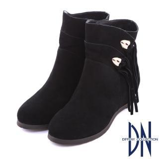 【DN】百搭首選 流蘇造型心機內增高短靴(黑)