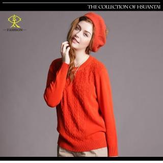 【玄太】簡約造型織紋百搭針織上衣(橘)