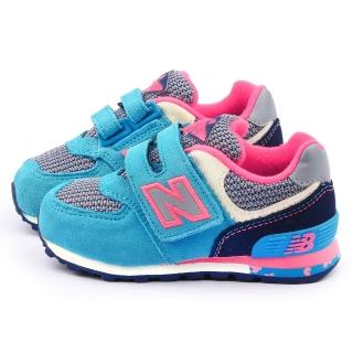 【NewBalance】小童 經典574復古運動鞋(KG574K2I-藍粉)