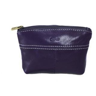 【Sika】義大利時尚真皮拉鍊大容量零錢包(A8257-07木槿紫)