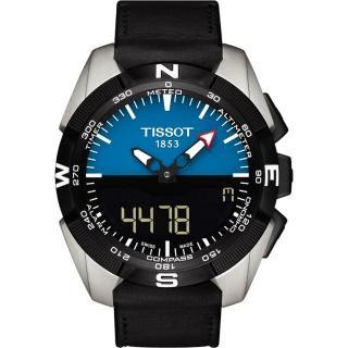 【TISSOT】T-TOUCH鈦 太陽能觸控錶-藍/45mm(T0914204604100)
