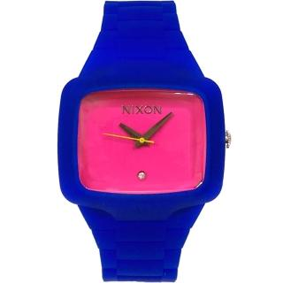 【NIXON】THE RUBBER PLAYER 街頭潮流腕錶-藍x桃紅(A139-622)