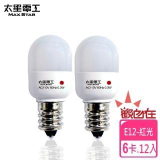 【太星電工】觀自在LED節能燈泡E12/0.3W/紅光/2入(6卡)