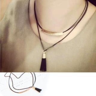 【Hera】赫拉 金屬扣流蘇雙層短項鍊/鎖骨鏈/頸鍊(黑色)