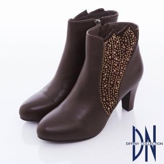 【DN】神秘女郎 俐落牛皮剪裁水鑽拼接性感高跟踝靴(咖)