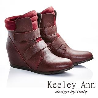 【Keeley Ann】龐克搖滾-雙排魔鬼氈簡約素面羊皮內增高短靴(酒紅色587138157)