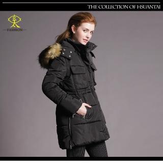 【玄太】保暖簡約抽繩修身鋪棉防風大衣外套(黑)