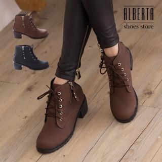 【Alberta】金屬拉鍊皮革材質 繫帶粗跟短靴 時尚個性帥氣 馬丁靴 機車靴(咖啡)