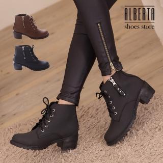 【Alberta】金屬拉鍊皮革材質 繫帶粗跟短靴 時尚個性帥氣 馬丁靴 機車靴(黑色)