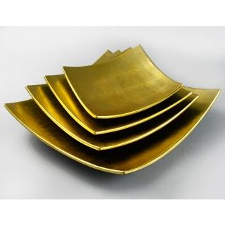 【MU LIFE 荒木雕塑藝品】黃金漆器盤(31cm)