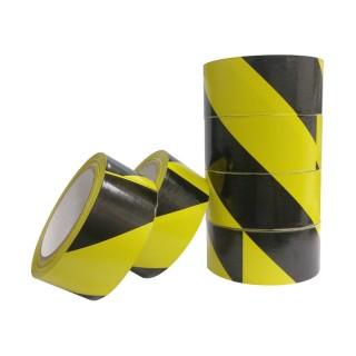 【YC】台灣製 PVC黑黃超黏警示膠帶-4.8公分x24公尺(6卷入)