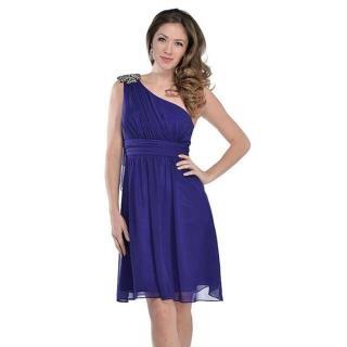 【摩達客】美國進口Landmark單肩斜肩藍紫色浪漫派對洋宴會小禮服(含禮盒/附絲巾)