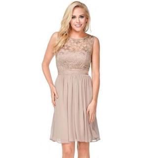 【摩達客】美國進口Landmark裸色花漾蕾絲浪漫優雅派對洋裝晚宴小禮服(含禮盒/附絲巾)