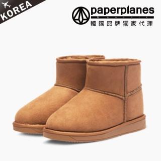 【PAPERPLANES韓國雪靴】正韓空運。經典素面絨質內鋪毛反摺短筒布標雪靴(7-1391駝/現+預)