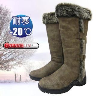 【極地時尚】女新款 高筒毛絨側扣專業保暖雪鞋、雪靴_附冰爪/內層保暖刷毛雪靴(可可 SN164)