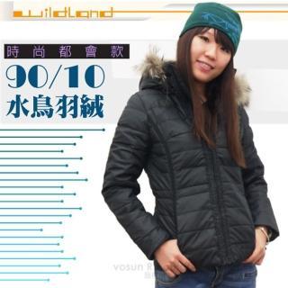 【荒野 wildland】女款 貉子毛單件式保暖羽絨外套/大衣.保暖外套(92111 黑色)