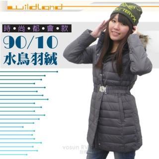 【荒野 wildland】女款 中長版 貉子毛保暖羽絨外套/大衣.保暖外套(92105 深霧灰)