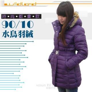 【荒野 wildland】女款 中長版 貉子毛保暖羽絨外套/大衣.保暖外套(92105 深紫色)