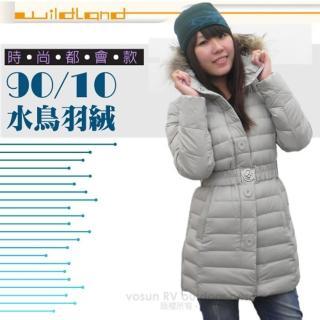 【荒野 wildland】女款 中長版 貉子毛保暖羽絨外套/大衣.保暖外套(92105 白卡其)
