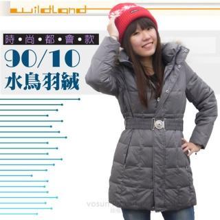 【荒野 wildland】女款 中長版 貉子毛保暖羽絨外套/大衣.保暖外套(92103 鐵灰)
