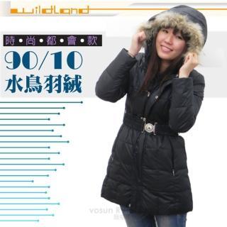 【荒野 wildland】女款 中長版 貉子毛保暖羽絨外套/大衣.保暖外套(92103 黑色)