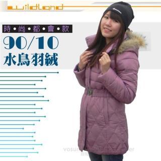 【荒野 wildland】女款 中長版 貉子毛保暖羽絨外套/大衣.保暖外套(92101 芋紫)