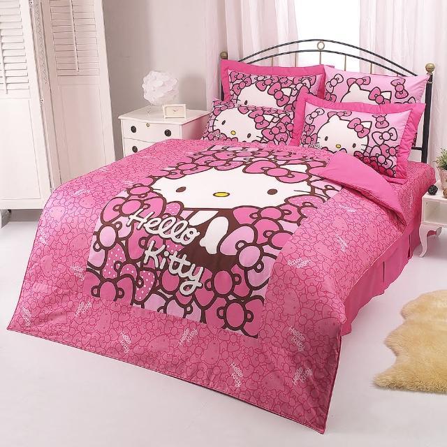 【享夢城堡】HELLO KITTY 我的Ribbon時尚系列-雙人純棉四件式床包薄被套組(粉)