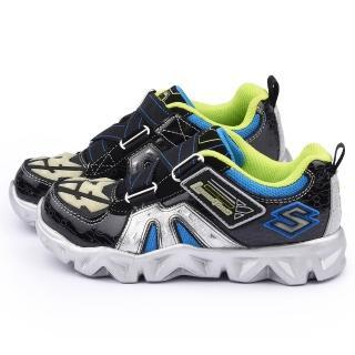 【SKECHERS】中童 電燈輕量彈性運動鞋(90460LBKSL-黑銀)