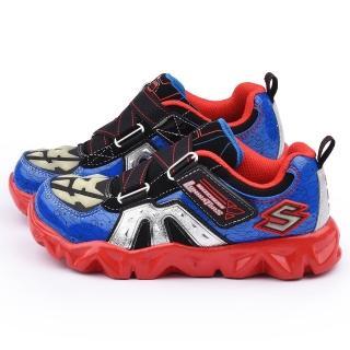 【SKECHERS】中童 電燈輕量彈性運動鞋(90460LBLRD-藍紅)